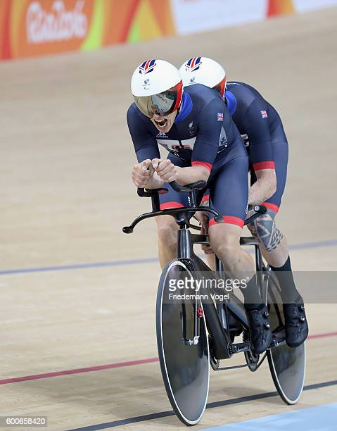Steve Bate and Adam Duggleby of Great Britain compete in the men's B 4000m individual pursuit track cycling on day 1 of the Rio 2016 Paralympic Games...