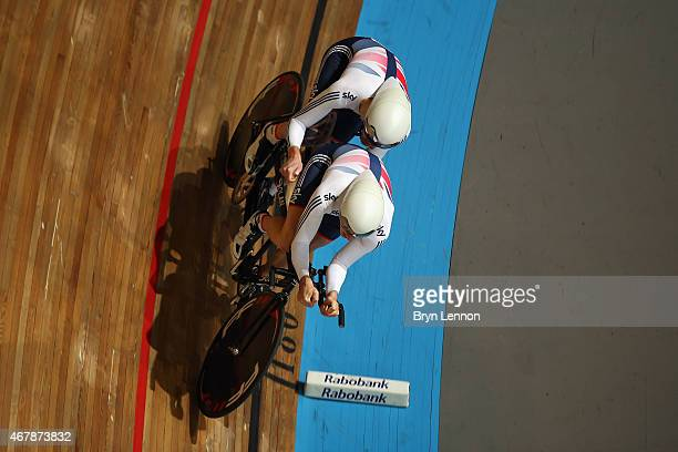 Steve Bate and Adam Duggleby of the Great British Cycling Team in action during qualifying for the B 4km Pursuit on day three of the UCI Paracycling...
