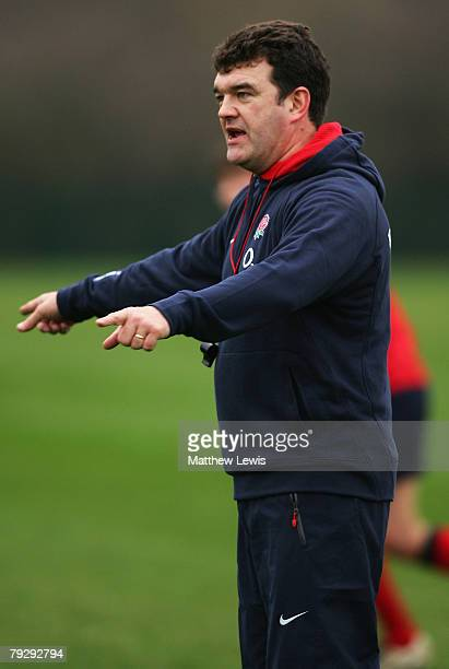 Steve Bates Coach of the England Saxons in action duringTraining at Loughborough University on January 28 2008 in Loughborough England