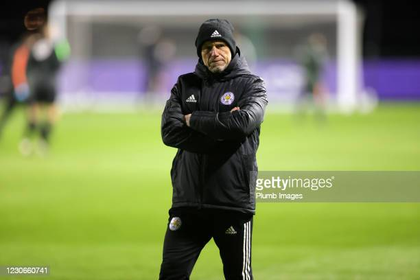 Steve Beaglehole Leicester City development squad manager ahead of the Premier League 2 match between Leicester City and Manchester United at...