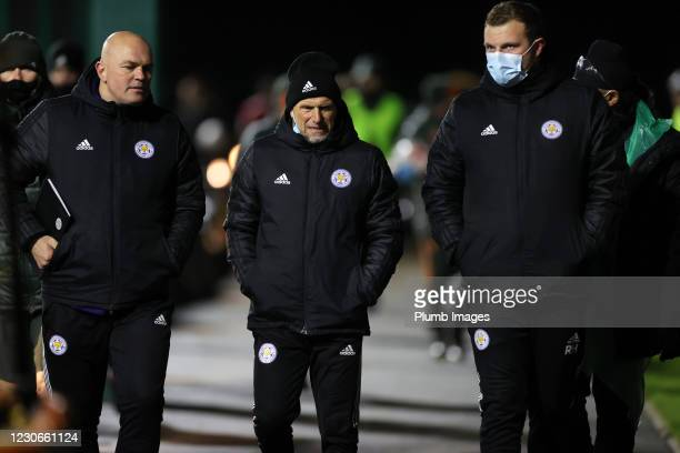 Steve Beaglehole Leicester City development squad manager and Ben Petty assistant Leicester City development squad manager during the Premier League...