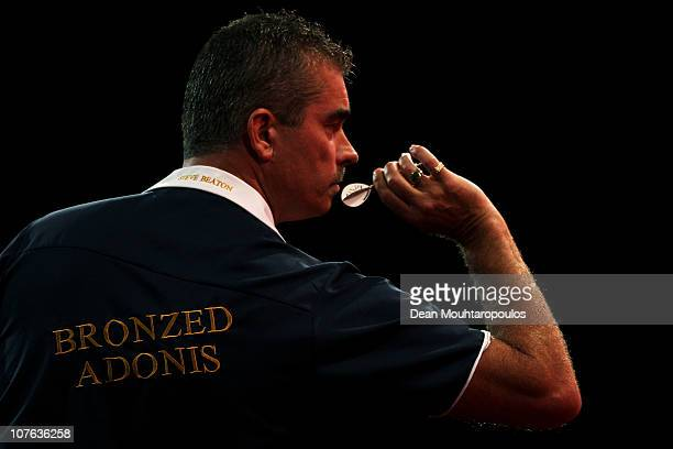 Steve Beaton in action against Mark Hylton during day one in the 2011 Ladbrokescom World Darts Championship at Alexandra Palace on December 16 2010...