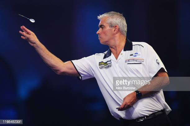 Steve Beaton of England in action against James Wade of England in his Third Round match during Day Ten of the 2020 William Hill World Darts...