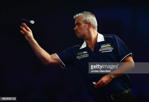 Steve Beaton of England in action during his first round match against William O'Connor of Ireland during day one of the 2018 William Hill PDC World...