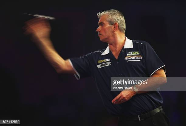 Steve Beaton of England in action during his match against Vincent Van Der Voort of the Netherlands on day nine of the 2018 William Hill PDC World...