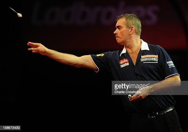 Steve Beaton of England in action during his second round match against James Wade of England on day Ten of the Ladbrokescom World Darts Championship...