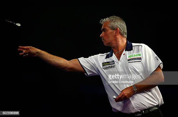 Steve Beaton of England in action during his second round match against Michael Smith of England during the 2016 William Hill PDC World Darts...