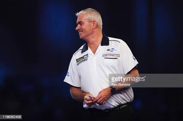 Steve Beaton of England reacts in his Fourth Round match against Darius Labanauskas of Lithuania during Day Thirteen of the 2020 William Hill World...