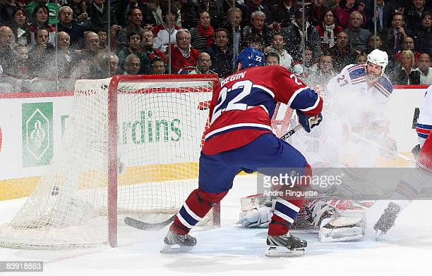 Steve Begin of the Montreal Canadiens skates hard to the net and scores a first period goal against the New York Rangers at the Bell Centre on...