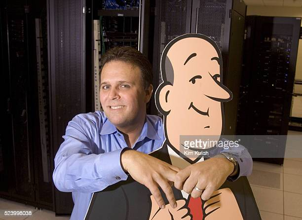 CEO Steve Berkowitz stands with their trademark butler icon in the server room as Ask Jeeves moves into their new corporate headquarters in downtown...