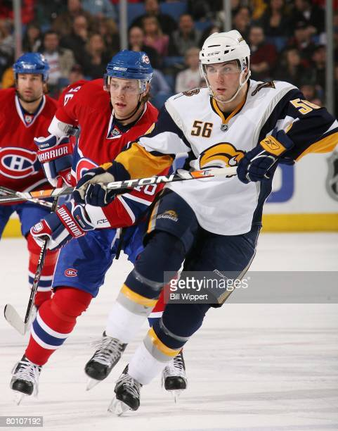 Steve Bernier of the Buffalo Sabres skates against the Montreal Canadiens on February 29, 2008 at HSBC Arena in Buffalo, New York.