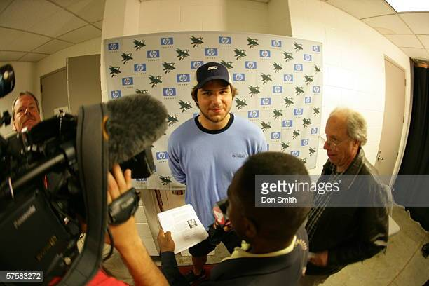 Steve Bernier of the San Jose Sharks talks with the media prior to Game 2 of the Western Conference Semifinals against the Edmonton Oilers on May 8,...