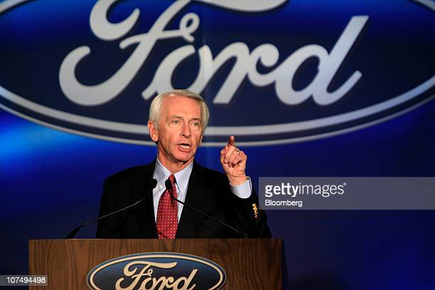 Steve Beshear governor of Kentucky speaks during a press conference at Ford Motor Co's Louisville Assembly Plant in Louisville Kentucky US on...