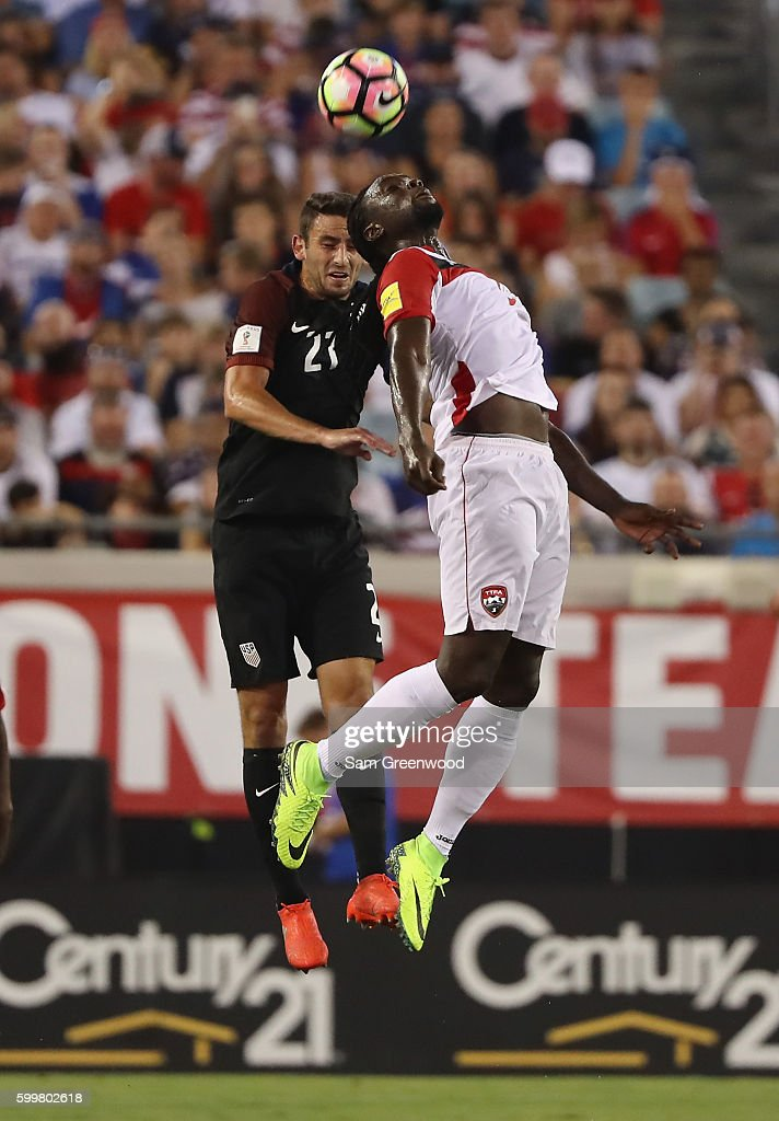 Steve Birnbaum #21 of the United States and Kenwyne Jones #9 of Trinidad & Tobago attempt to control the ball during the FIFA 2018 World Cup Qualifier at EverBank Field on September 6, 2016 in Jacksonville, Florida.