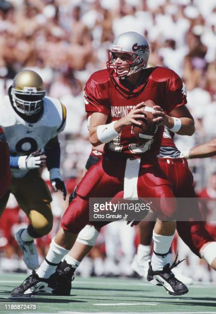 Steve Birnbaum Quarterback for the Washington State Cougars calls the play during the NCAA Pac10 college football game against the University of...