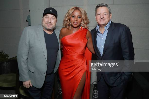 Steve Blackman Mary J Blige and Ted Sarandos attend the after party for the premiere of Netflix's The Umbrella Academy on February 12 2019 in...