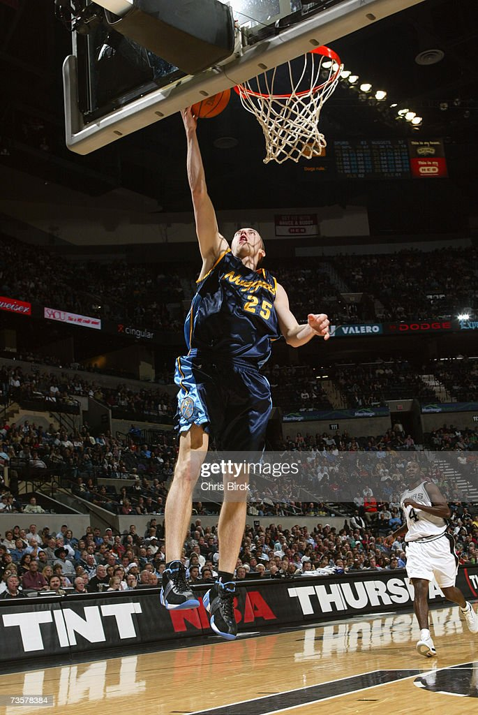 Steve Blake #25 of the Denver Nuggets shoots a layup during the NBA game against the San Antonio Spurs on February 20, 2007 at AT&T Center in San Antonio, Texas. The Spurs won 95-80.