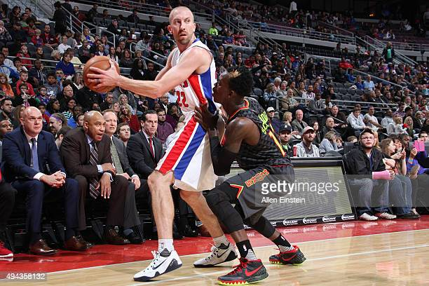 Steve Blake of the Detroit Pistonshandles the ball against the Atlanta Hawks during the game on October 23 2015 at The Palace of Auburn Hills in...