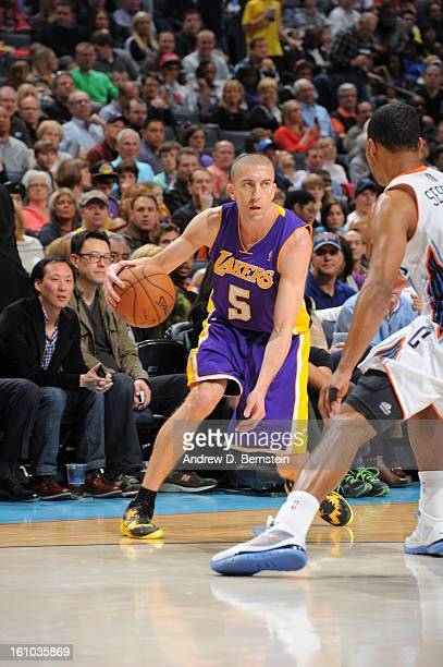 Steve Blake of the Los Angeles Lakers handles the ball against the Charlotte Bobcats on February 8 2013 at the Time Warner Cable Arena in Charlotte...