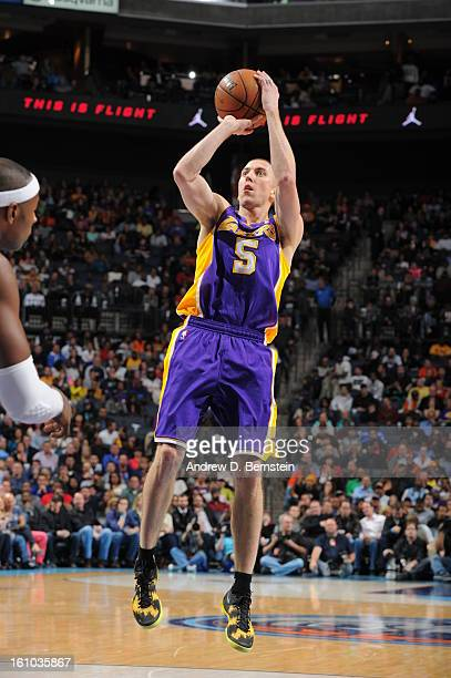 Steve Blake of the Los Angeles Lakers shoots against the Charlotte Bobcats on February 8 2013 at the Time Warner Cable Arena in Charlotte North...