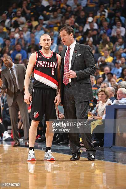 Steve Blake of the Portland Trail Blazers talks with Head Coach Terry Stotts of the Portland Trail Blazers against the Memphis Grizzlies in Game Two...