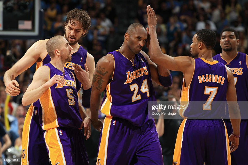 Steve Blake #5, Pau Gasol #16, Kobe Bryant # 24, Ramon Sessions #7 and Andrew Bynum #17 of the Los Angeles Lakers celebrate their victory over the Denver Nuggets in Game Four of the Western Conference Quarterfinals in the 2012 NBA Playoffs at Pepsi Center on May 6, 2012 in Denver, Colorado. The Lakers defeated the Nuggets 92-88 to take a 3-1 lead in the series.