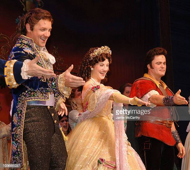 Steve Blanchard Anneliese van der Pol and Donny Osmond on stage for the 'Beauty And The Beast' Broadway Closing Performance Curtain Call at the...