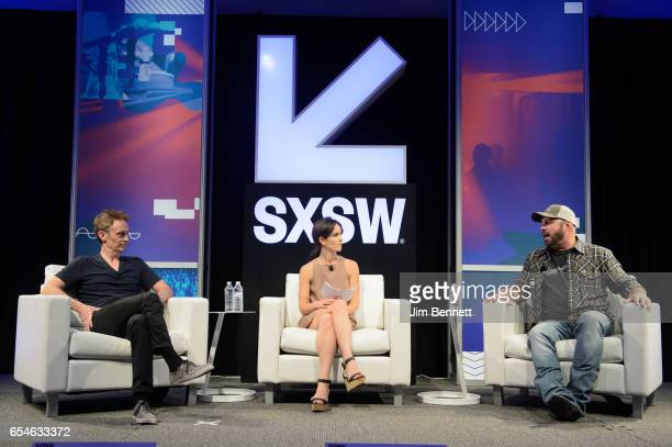 Steve Bloom and Hannah Karp talk with Garth Brooks during the SxSW Music Festival at the Austin Convention Center on March 17, 2017 in Austin, Texas.