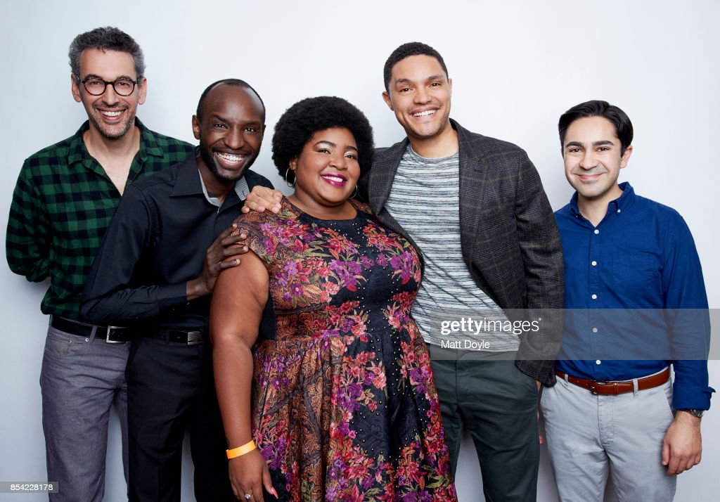Steve Bodow, Joseph Opio, Dulce Sloan, Trevor Noah and Zhubin Parang pose for a portraits at the Tribeca TV festival at Cinepolis Chelsea on September 24, 2017.