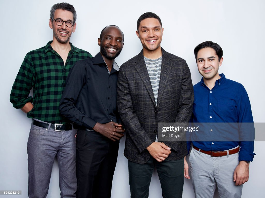 Steve Bodow, Joseph Opio,Trevor Noah and Zhubin Parang pose for a portraits at the Tribeca TV festival at Cinepolis Chelsea on September 24, 2017.
