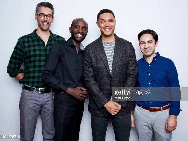 Steve Bodow Joseph OpioTrevor Noah and Zhubin Parang pose for a portraits at the Tribeca TV festival at Cinepolis Chelsea on September 24 2017