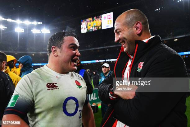 Steve Borthwick Assistant Coach of England speaks with Jamie George of England after the Old Mutual Wealth Series match between England and Australia...