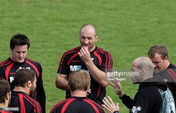 Steve Borthwick looks on during the Saracens training session on May 25 2010 in St Albans England