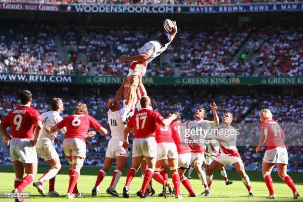 Steve Borthwick of England wins lineout ball during the Investec Challenge rugby union match between England and Wales at Twickenham on August 4 2007...