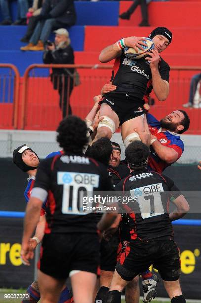Steve Borthwick of Saracens wins a lineout during the Amlin Challenge Cup round six match between Rovigo and Saracens at Mario Battaglini on January...