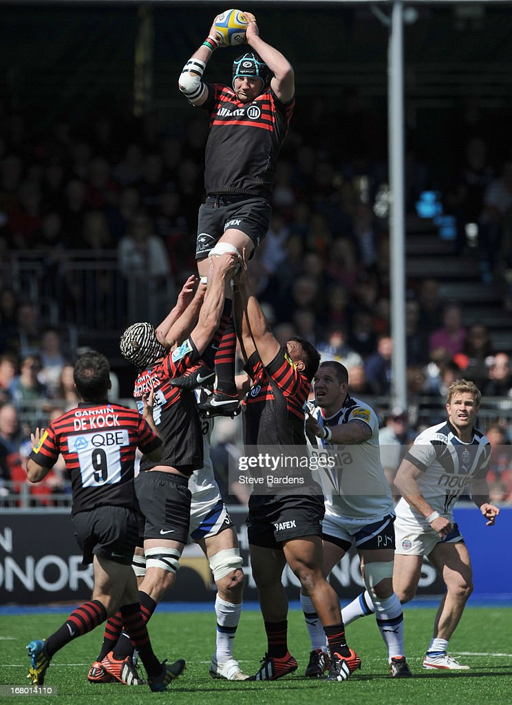 Steve Borthwick of Saracens wins a lineout during the Aviva Premiership match between Saracens and Bath at Allianz Park on May 04, 2013 in Barnet, England.