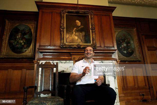 Steve Borthwick the England captain faces the media during the press conference held at Pennyhill Park on February 4 2010 in Bagshot England