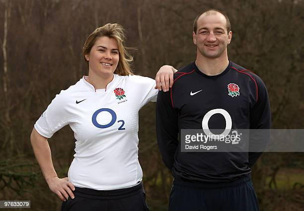 Steve Borthwick the England captain poses with Catherine Spencer the England Women's captain at Pennyhill Park on March 11 2010 in Bagshot England