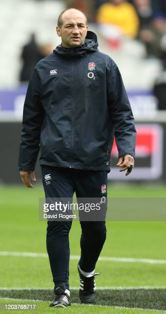 Steve Borthwick the England skills coach looks on during the 2020 Guinness Six Nations match between France and England at Stade de France on...
