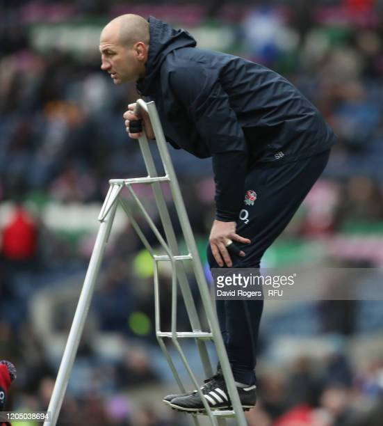Steve Borthwick the England skills coach undertakes lineout practice during the 2020 Guinness Six Nations match between Scotland and England at...