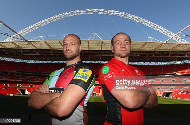 Steve Borthwick the Saracens captain poses with George Robson of Harlequins during the press conference to preview the Saracens v Harlequins match at...