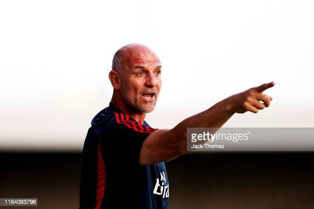 Steve Bould Manager of Arsenal gives his team instructions during the PreSeason Friendly match between Barnet and Arsenal at The Hive on July 24 2019...