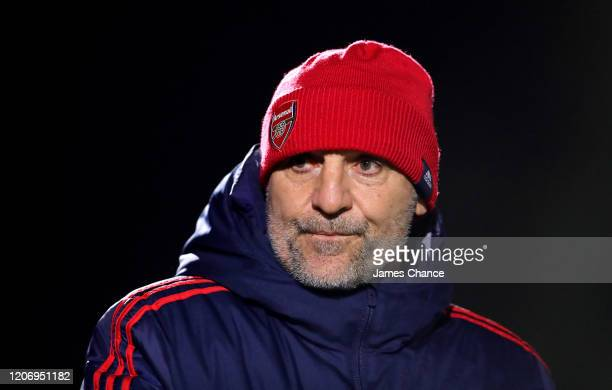 Steve Bould Manager of Arsenal U23 looks on prior to the Premier League 2 match between Arsenal FC U23s and Chelsea FC U23s at Meadow Park on...