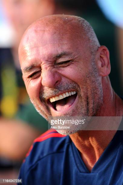 Steve Bould manager of Arsenal XI reacts prior to the PreSeason Friendly match between Barnet and Arsenal XI at The Hive on July 24 2019 in Barnet...