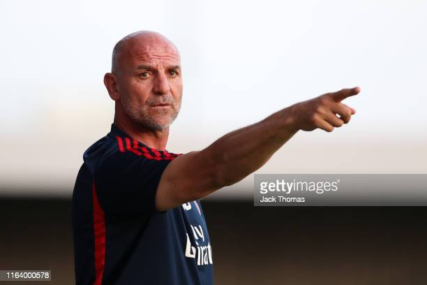Steve Bould of Arsenal gives his team instructions during the PreSeason Friendly match between Barnet and Arsenal at The Hive on July 24 2019 in...