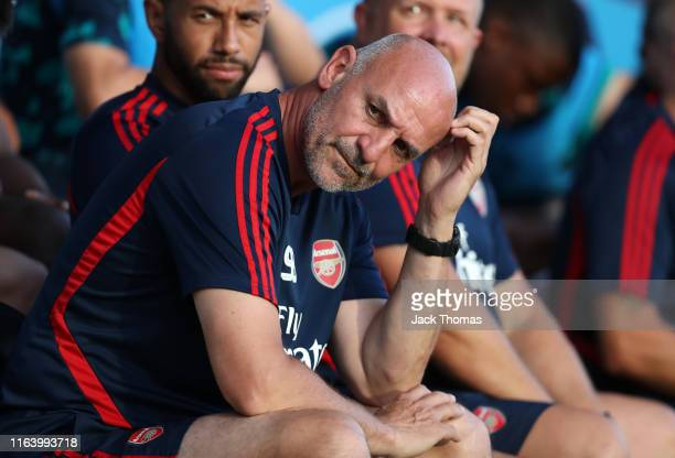 Steve Bould of Arsenal looks on ahead of the PreSeason Friendly match between Barnet and Arsenal at The Hive on July 24 2019 in Barnet England