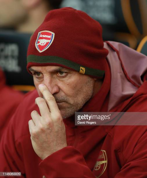 Steve Bould the Arsenal assistant head coach looks on during the Premier League match between Wolverhampton Wanderers and Arsenal FC at Molineux on...