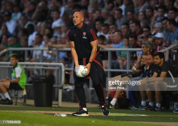 Steve Bould the Arsenal U21 Manager during the Leasingcom match between Northampton Town and Arsenal U21 at PTS Academy Stadium on August 27 2019 in...
