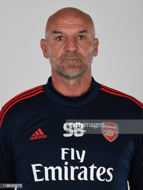 Steve Bould the Arsenal U23 Manager during the Arsenal Academy Photocall at London Colney on August 15 2019 in St Albans England