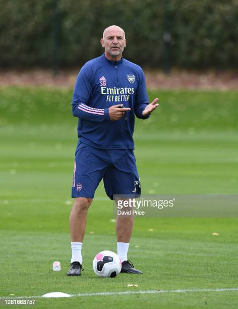 Steve Bould the Arsenal U23 Manager during the Arsenal U23 training session at London Colney on July 28 2020 in St Albans England